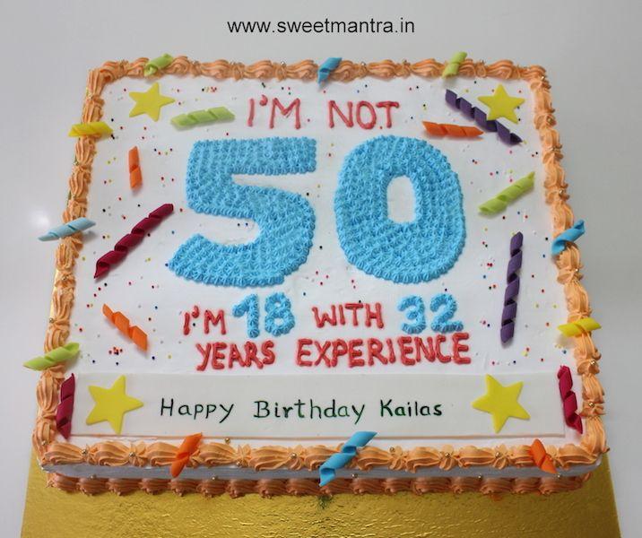 Customized fresh cream designer sheet cake for Dads 50th birthday