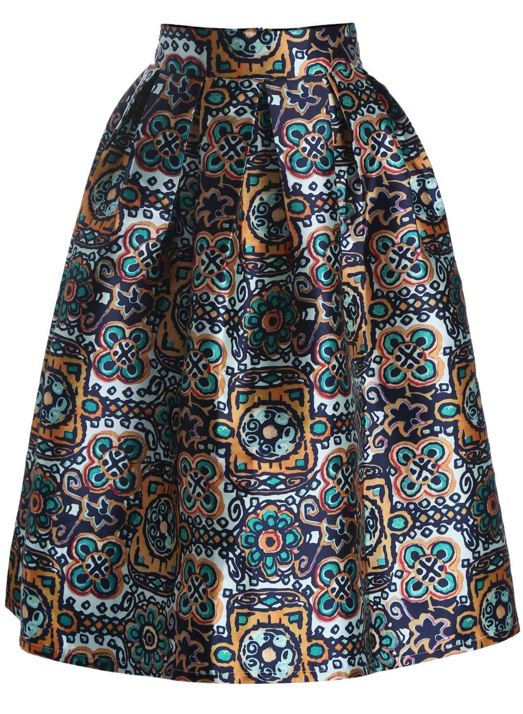 43f91abc5e Green High Waist Floral Flare Skirt | Fall Wardrobe | Blue pleated ...