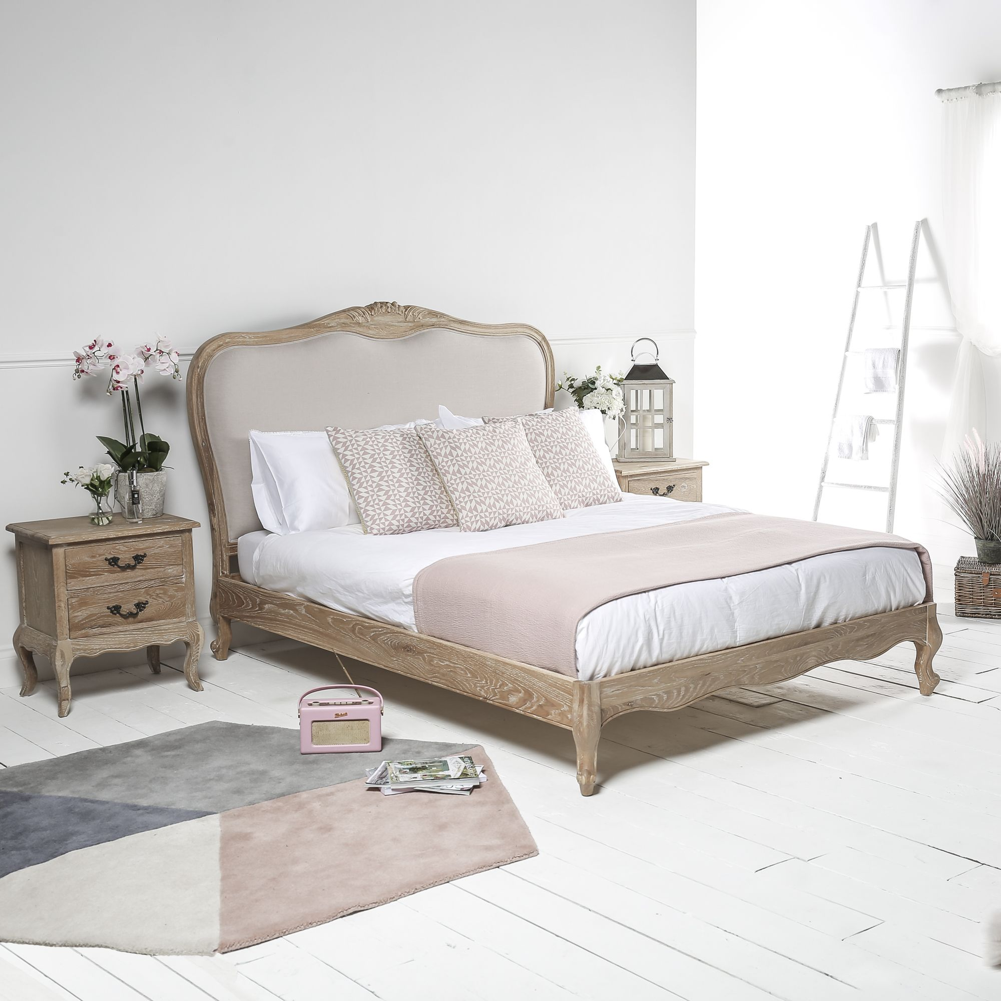 French Weathered Limed Oak Upholstered Low Foot Board Bed
