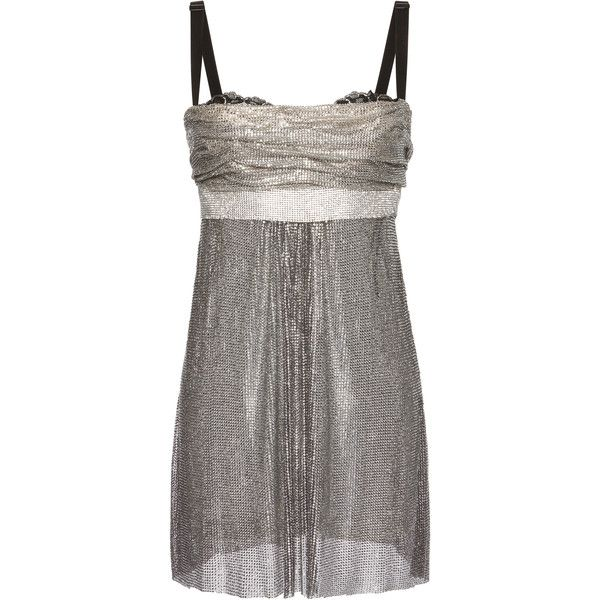 c9bb5b50ee3e Dolce & Gabbana Chainmail Mini Dress ($20,000) ❤ liked on Polyvore  featuring dresses, silver, ruching dress, short ruched dress, chain mail  dress, ...
