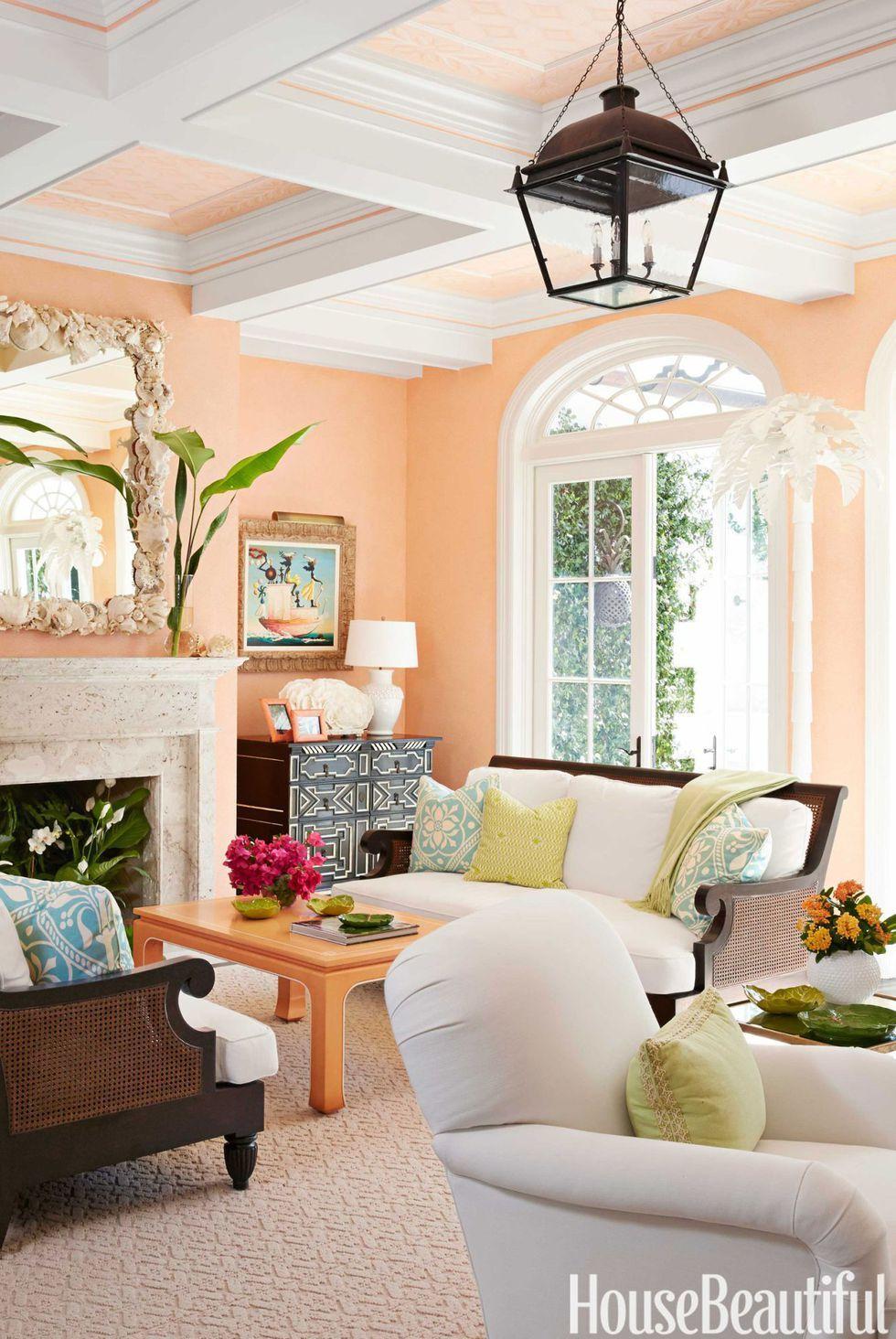 Peach Living Room Sea Shell Mirror Diy Spanish Style Decor Interior Design  Coastal