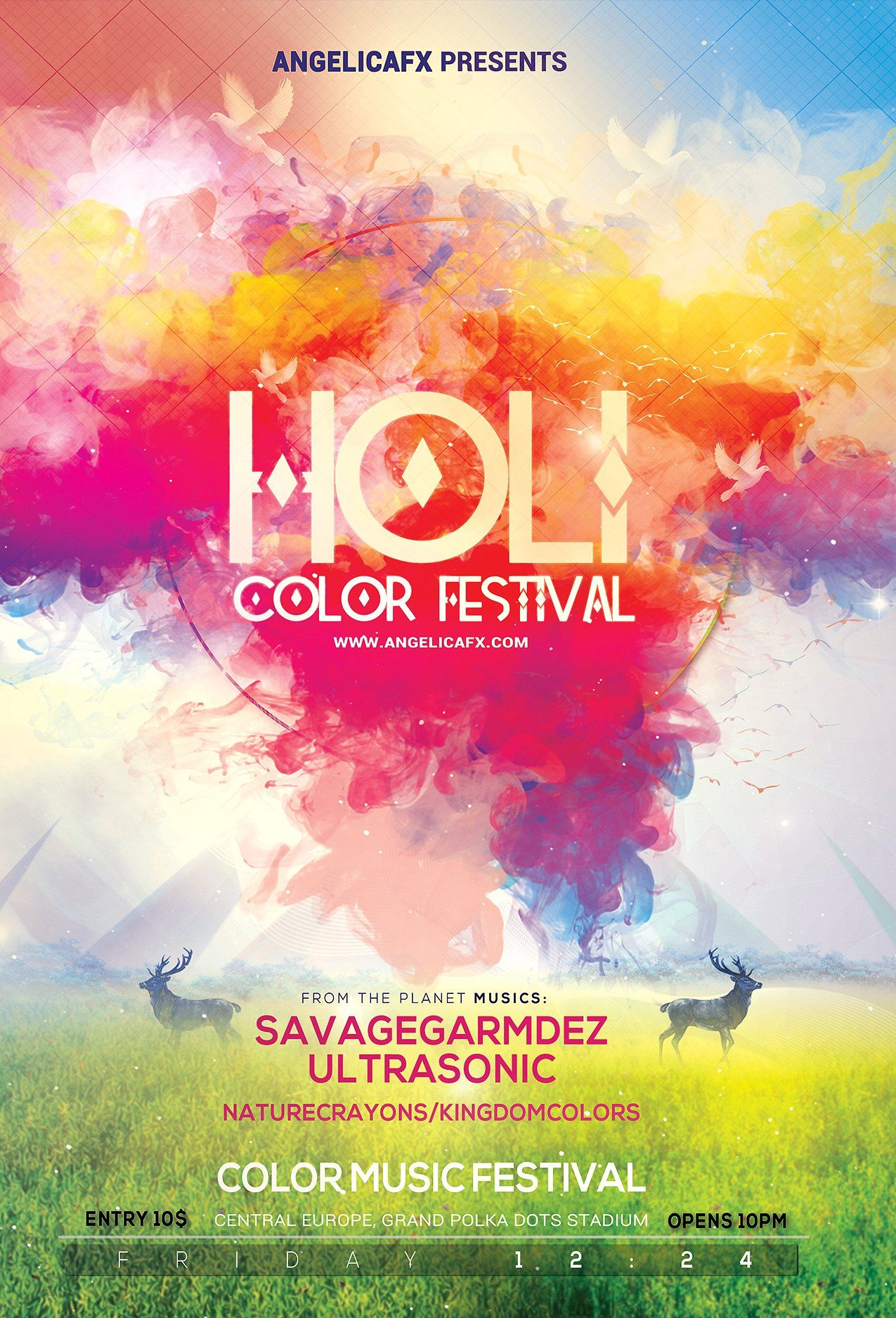 FESTIVAL OF COLORS 24x36 POSTER NEW WALL DECOR FESTIVAL OF LOVE HINDU INDIA HOLI