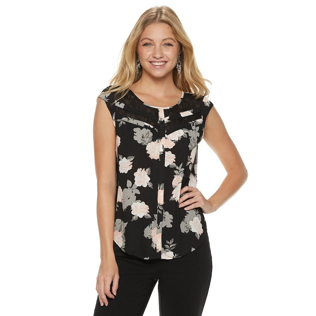 2711ae29e0e Juniors  Candie s® Print Lace Inset Top