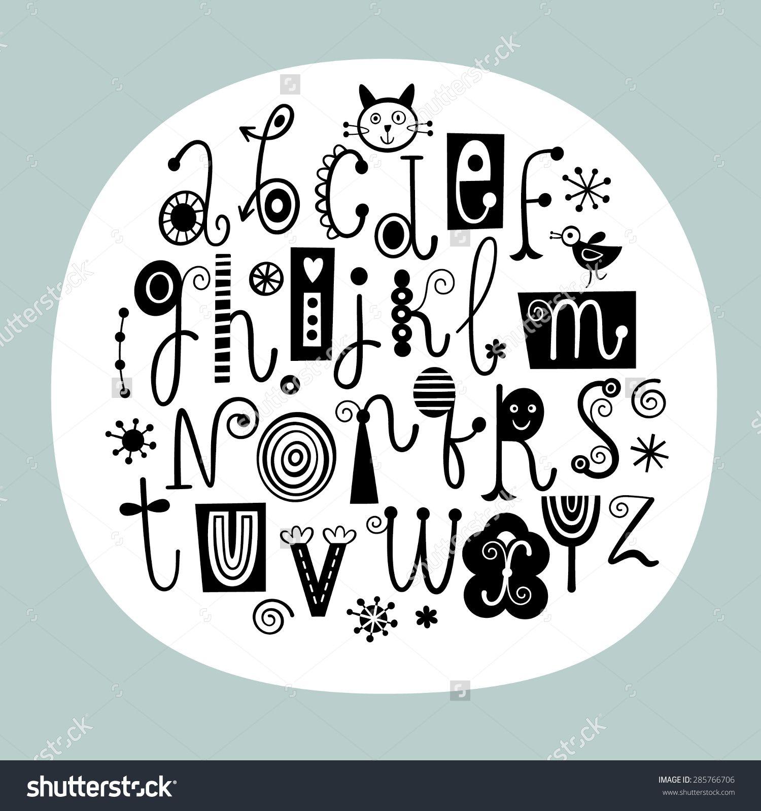 Stylish English Alphabet Letters Black White Stock Vector
