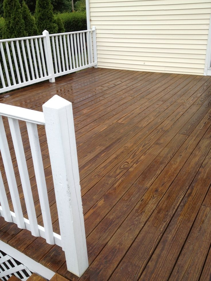 Pressure treated wood decking and white painted