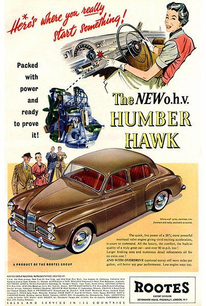 1955 Humber Hawk Promotional Advertising Poster Car