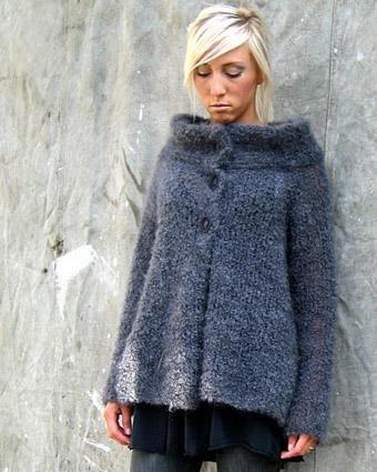 A-formad kofta med 60-tals krage #knitting