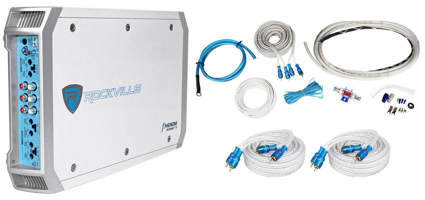 Package: Rockville RXM-F3 1600 Watt 4-Channel Marine Amplifier + 4 ...