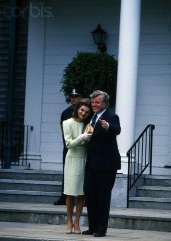Jackie Bouvier Kennedy and Ted Kennedy, 1986, at Caroline's wedding