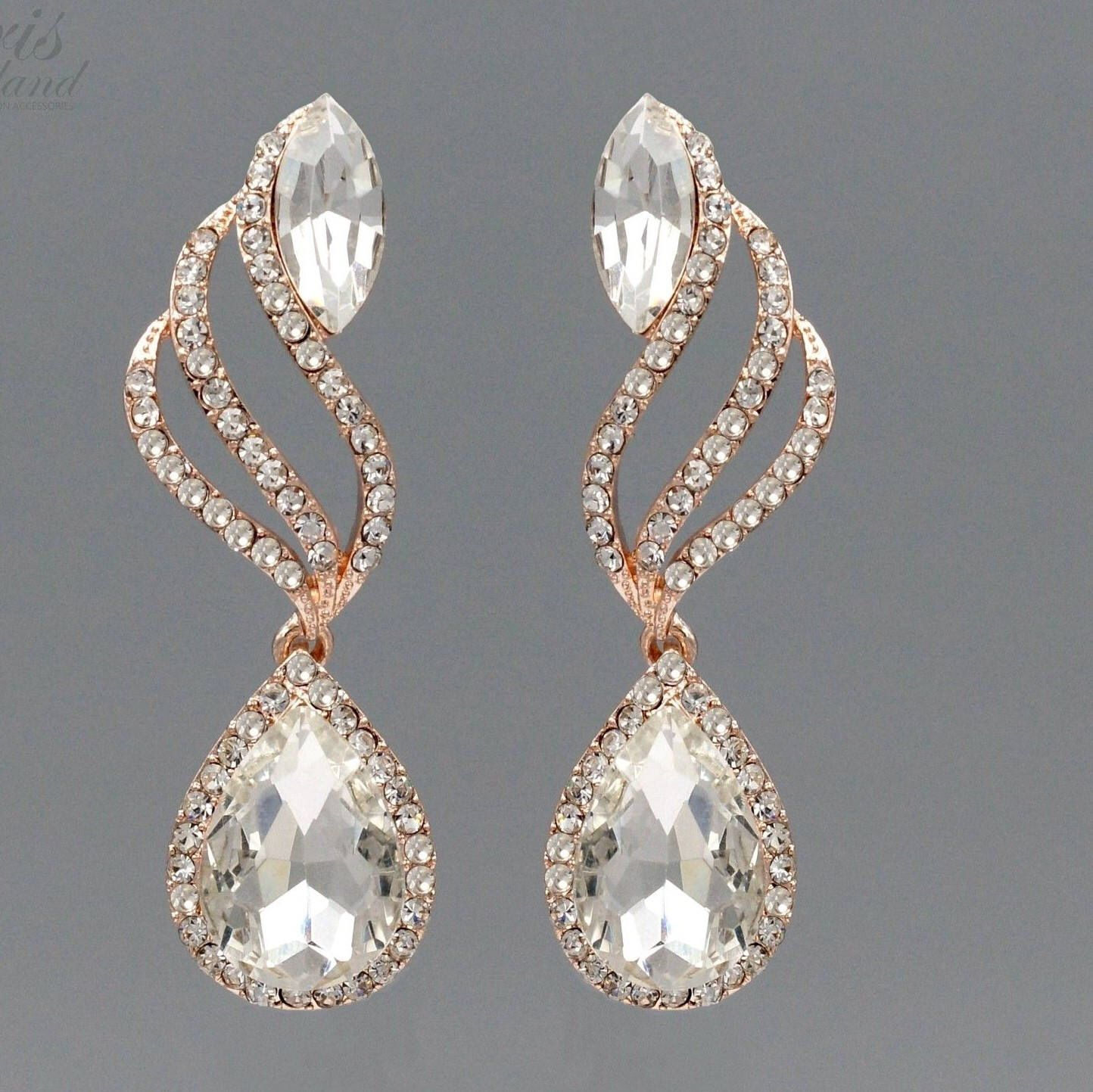 Marquise Stud Earrings for Women 18K Gold Plated Crystal Teardrop Drop Dangle Earrings in Gift Box 4 Colors White / Red / Blue / Green UP34Gy