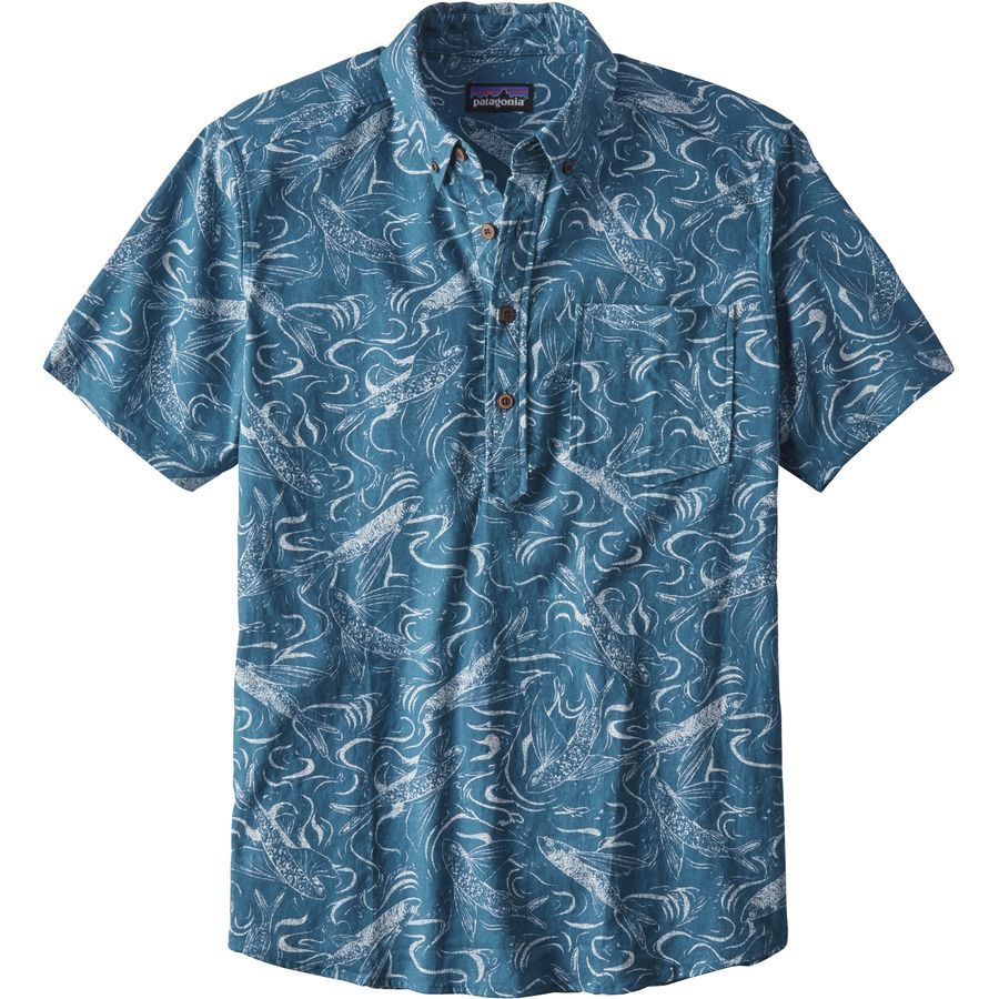 Patagonia - Back Step Pullover Shirt - Short-Sleeve - Men's - Fish Splash/Big Sur Blue
