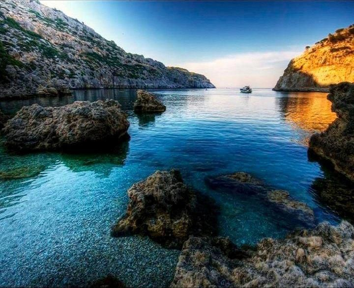 Rhodes island, Greece, The famous Anthony Quinn Bay