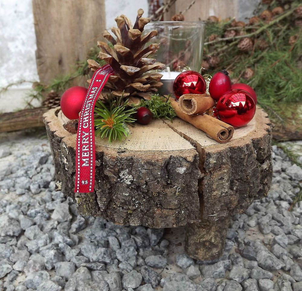 Weihnachten Advent Holz Gesteck Teelicht auf Holzscheibe rot natur | Möbel & Wohnen, Feste & Besondere Anlässe, Jahreszeitliche Dekoration | eBay! #rustikaleweihnachten