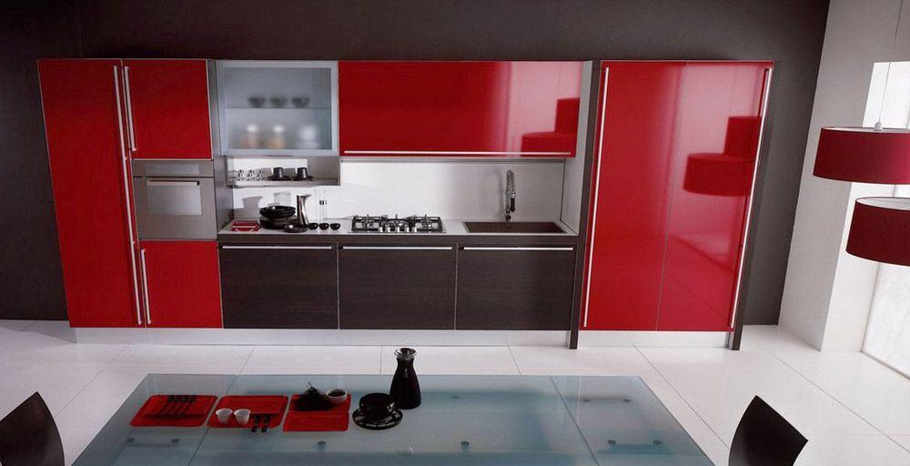 Cucina Miro Colours Di Aran Cucine Collezione Miro Anno 2008 Materiali Laminato Design Red Idee Cucina Rossa Armadietti Cucina Progetti Di Cucine