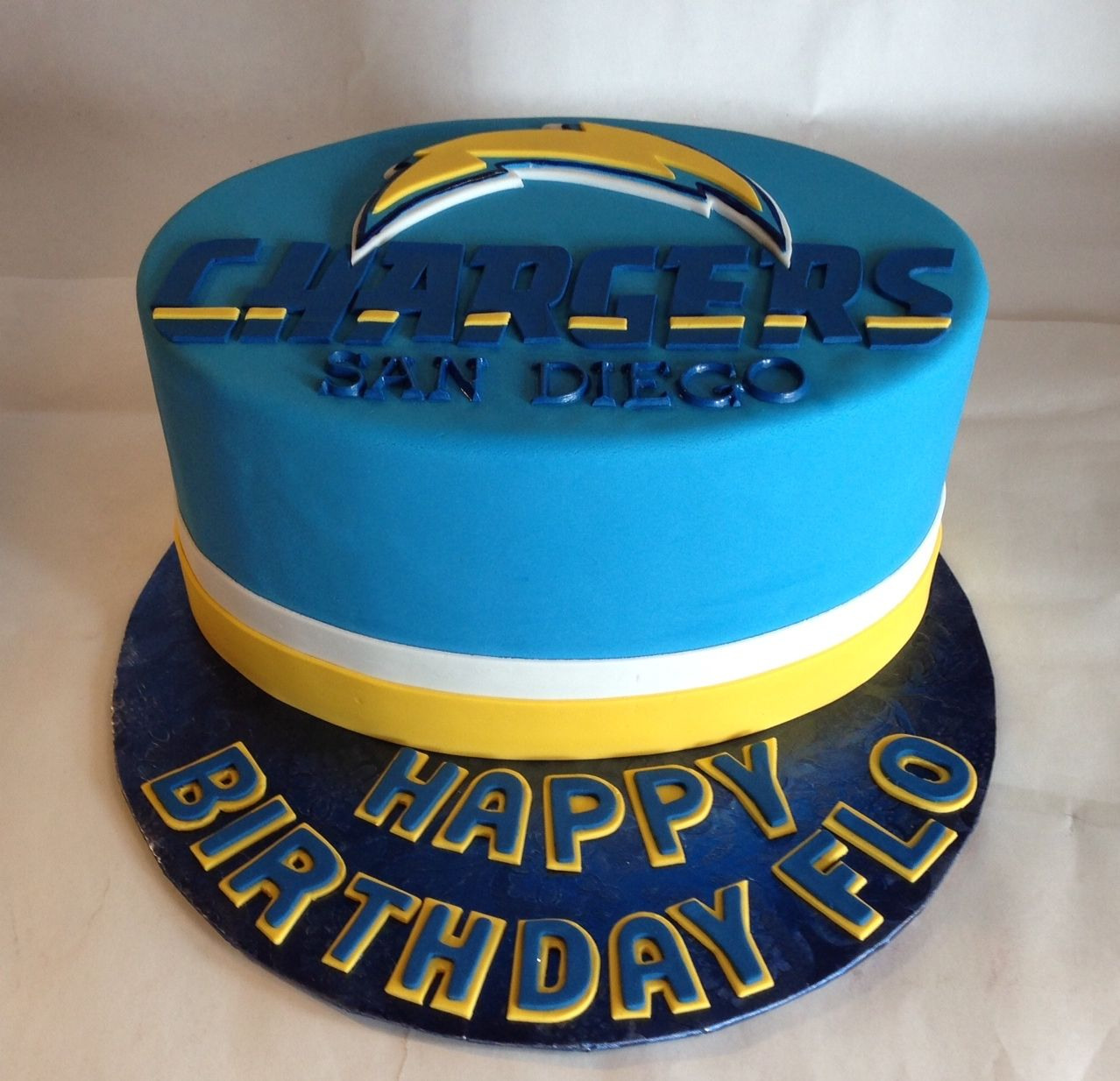 Superb San Diego Chargers Fondant Cake Dad Birthday Cakes Personalised Birthday Cards Veneteletsinfo