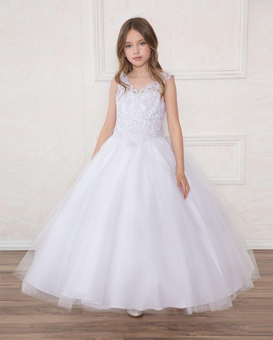 235cd27c0 First Communion Dress Full Length Beaded Halter Bodice V Neck ...