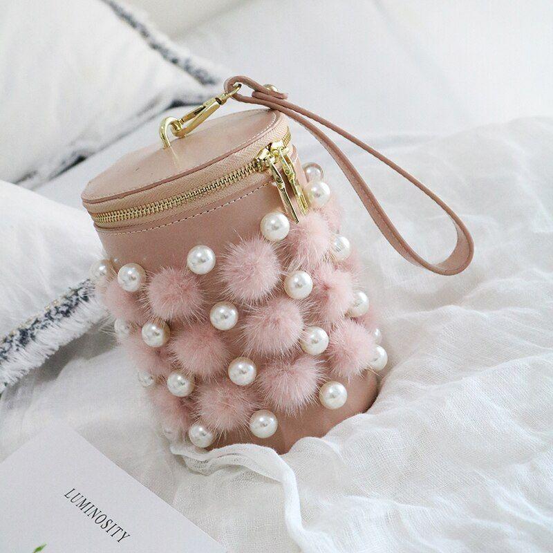Luxury Women Mink Fur Bag Real Fur Chain Shoulder Bag Lady Pearl Pu Leather Casual Barrel Shaped Female Handbag 293 Canta
