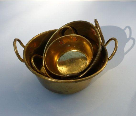 Miniature Brass Pans Portuguese Brass Miniature by CostaSul, €17.75