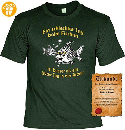 Angler T-Shirt Ein schlechter Tag beim Fischen Shirt 4 Heroes Geburtstag  Geschenk geil bedruckt