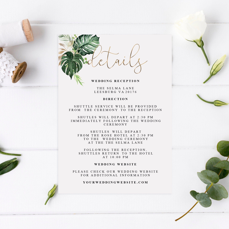 Tropical Details Card Template Wedding Details Invitation Template Printable Wedding Details Card Floral Wedding Details Card Wedding Cards Wedding Printables