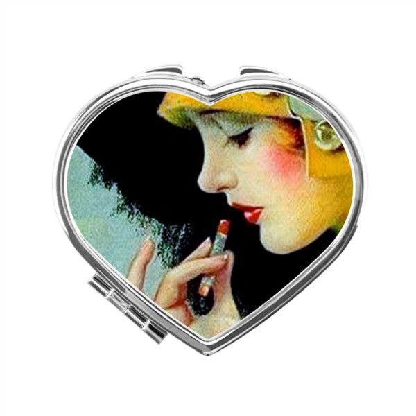 Art Deco Heart Compact Mirror Silver Heart Compact Mirror |... ($14) ❤ liked on Polyvore featuring beauty products and beauty accessories www.polyvore.com