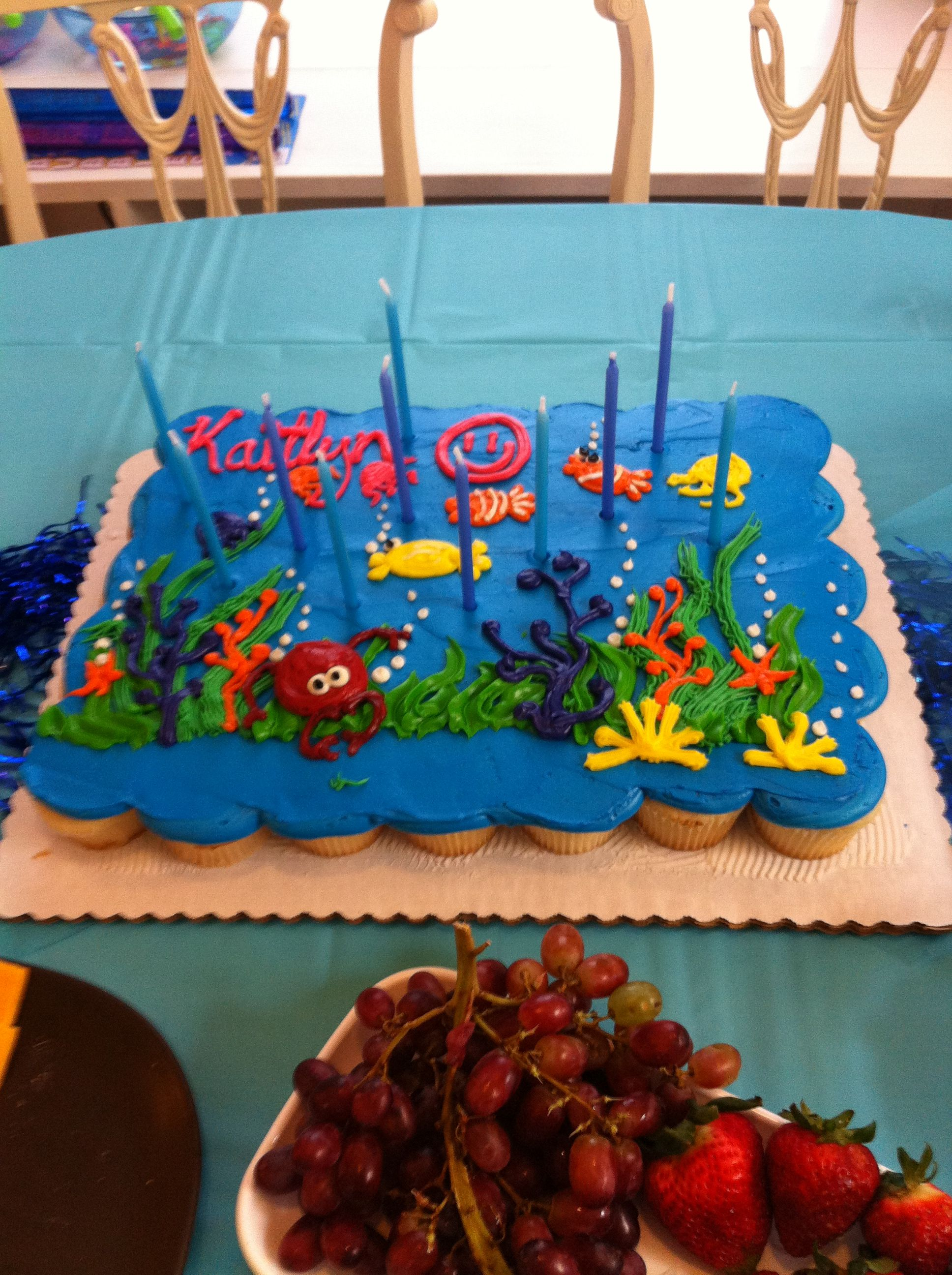 Remarkable Ocean Themed Cupcake Cake From Tom Thumb Bakery Themed Cupcakes Funny Birthday Cards Online Elaedamsfinfo