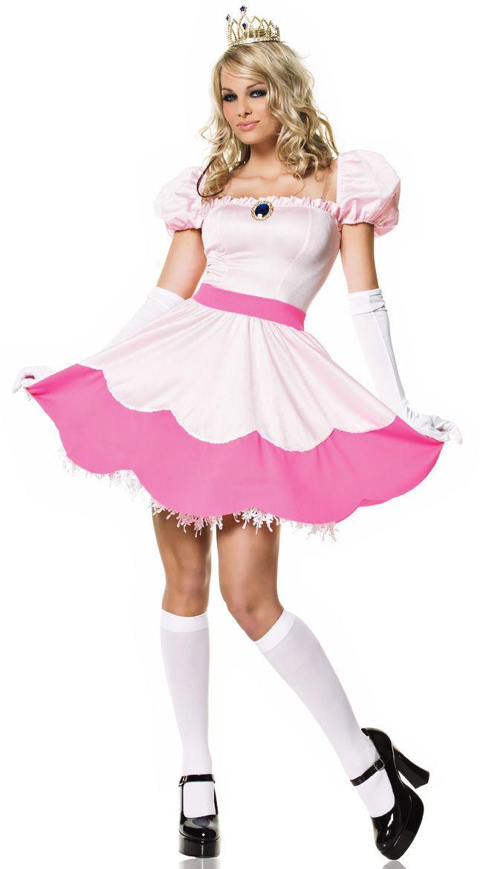 Mario 1980/'s CLASSIC Peachy Pink Princess Costume LEG AVENUE Fancy Dress Outfit