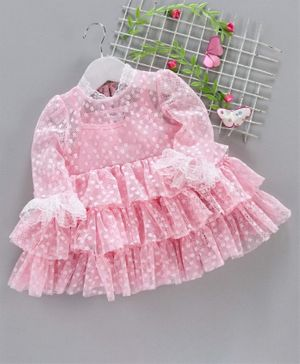 Mark Mia Full Sleeves Frock Style Onesie Allover Embroidery Pink In 2020 Full Sleeve Frocks Kids Outfits Girls