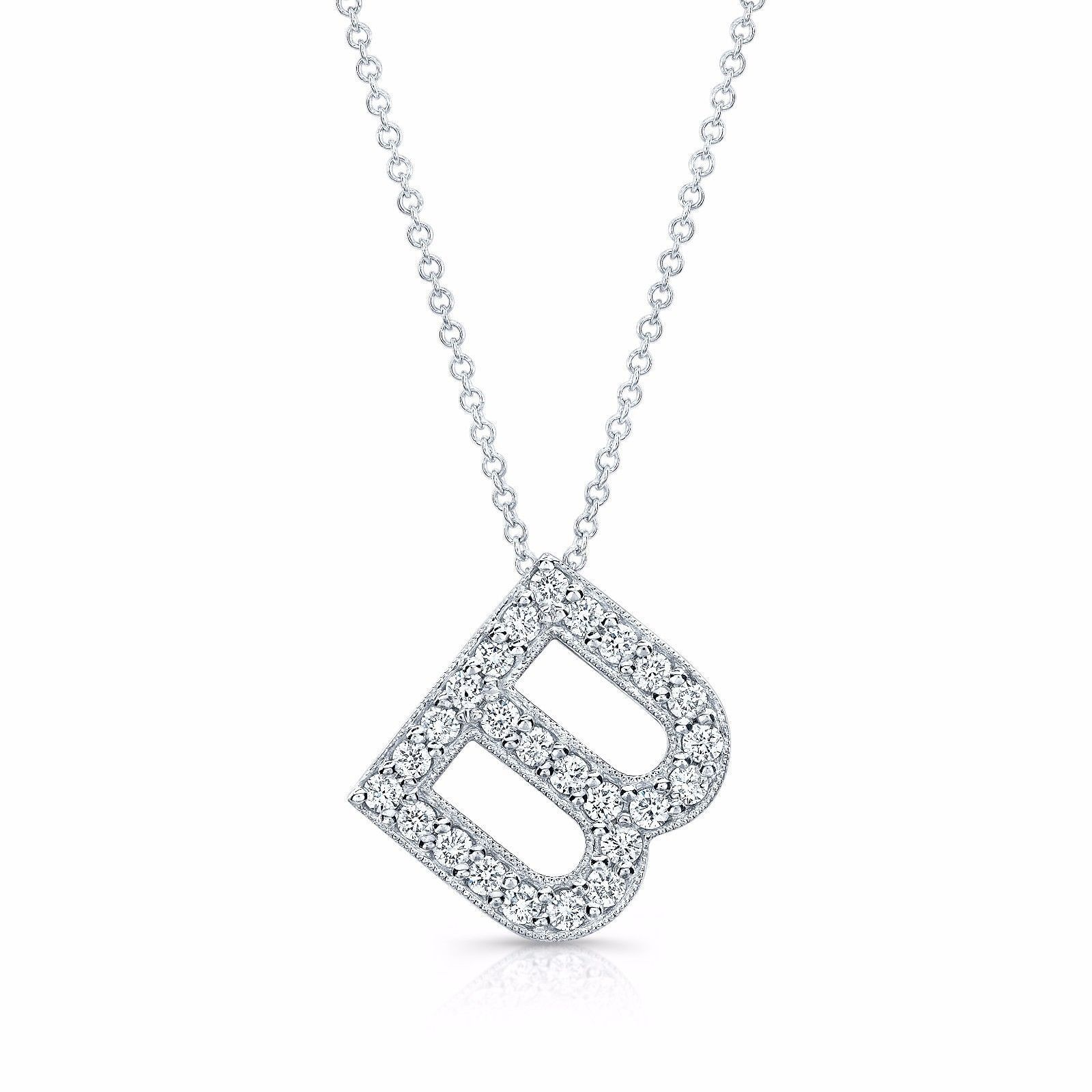 Diamond initial pendant in the letter b initial pendant