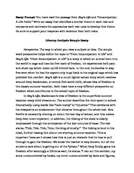 Two Literary Analysis Sample Essays Parcc   Students And