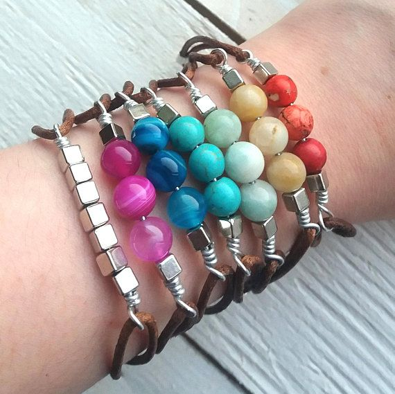 Natural Stone Wire Leather Bracelet Bohemian Boho Chic Summer Beach Jewelry Mineral