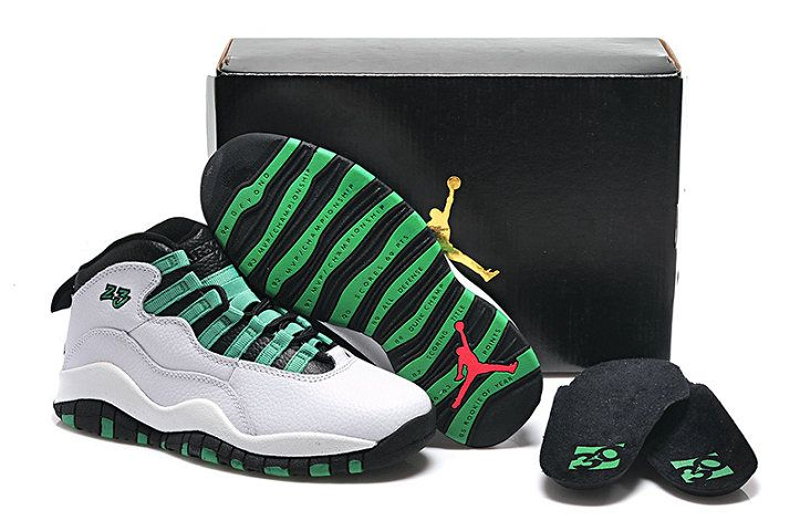 the best attitude 59283 5097a Youth Big Boys Air Jordan 10 Verde White Verde Infrared 23 705180 118