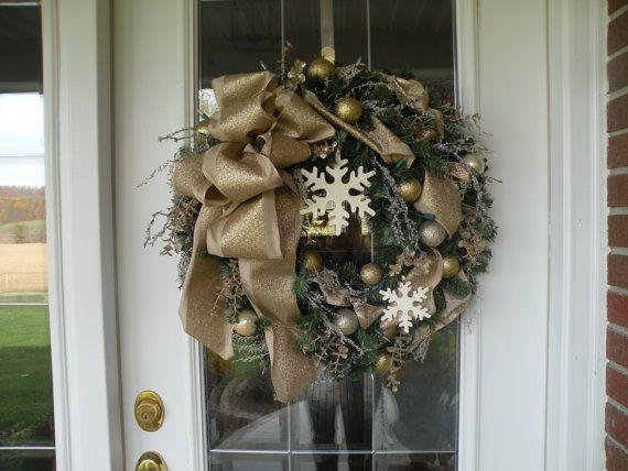 Lighted Wreath Christmas Wreath Holiday Wreath by KathysWreathShop