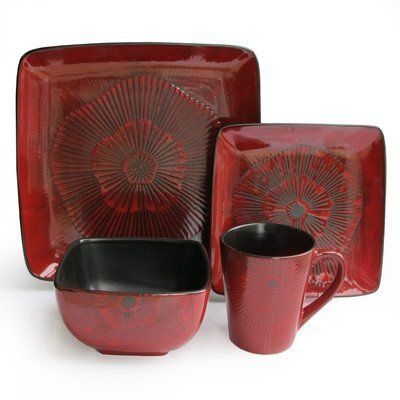 57% Off was $124.50, now is $52.97! Laurette Square Reactive 16-Piece Dinnerware Set, Red