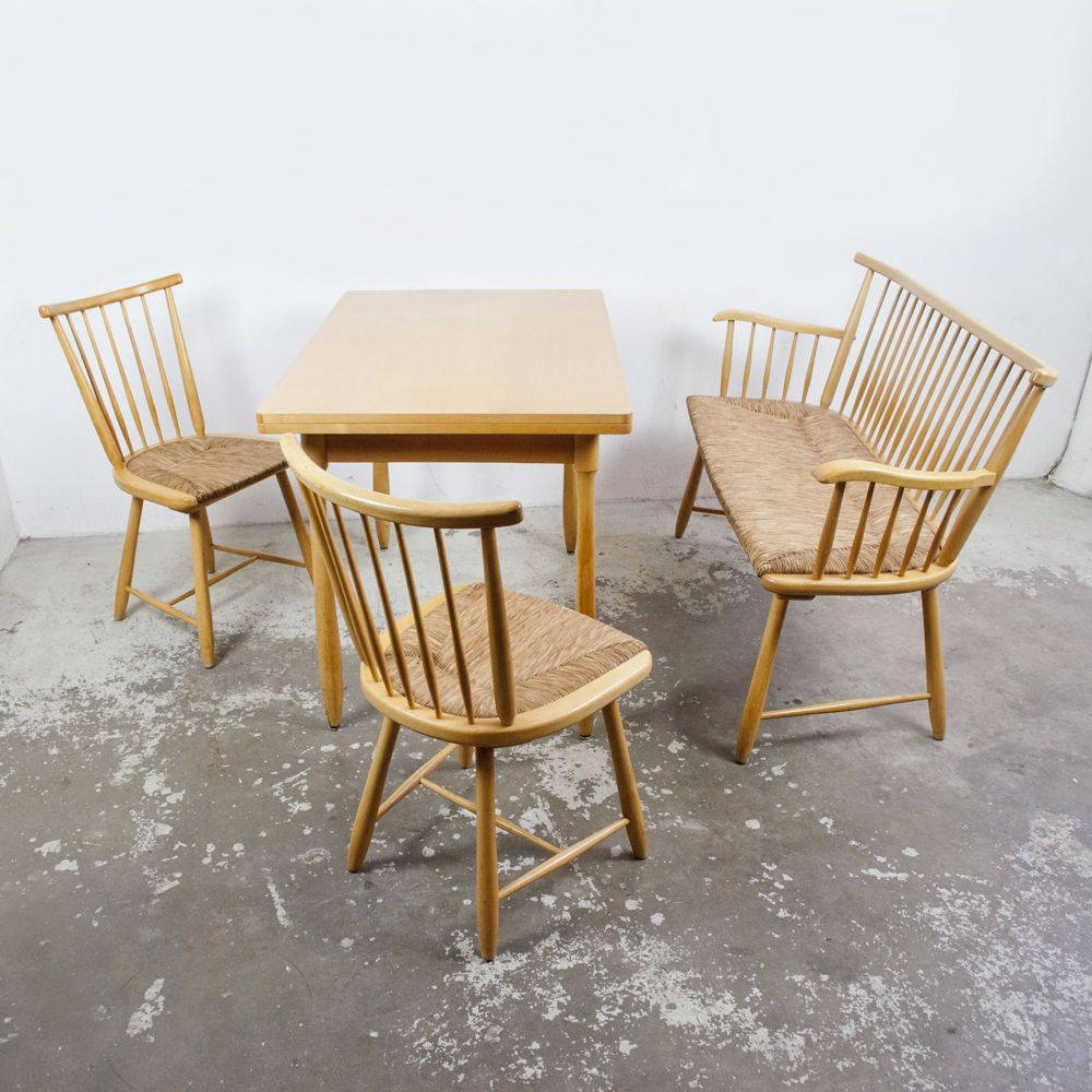 arno lambrecht vintage sitzgruppe wk mbel stuhl tisch bank binsen midcentury in antiquitten - Bank Und Stuhl Modern