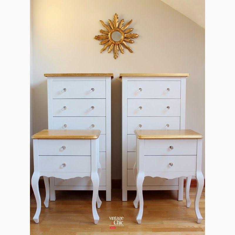 conjunto cómodas y mesitas de noche blanco y dorado muebles de ...