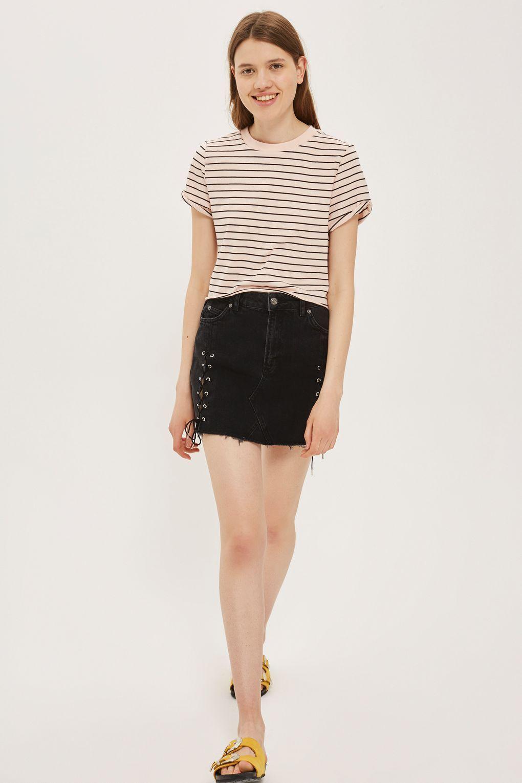 MOTO Lace Up Denim Mini Skirt - Topshop