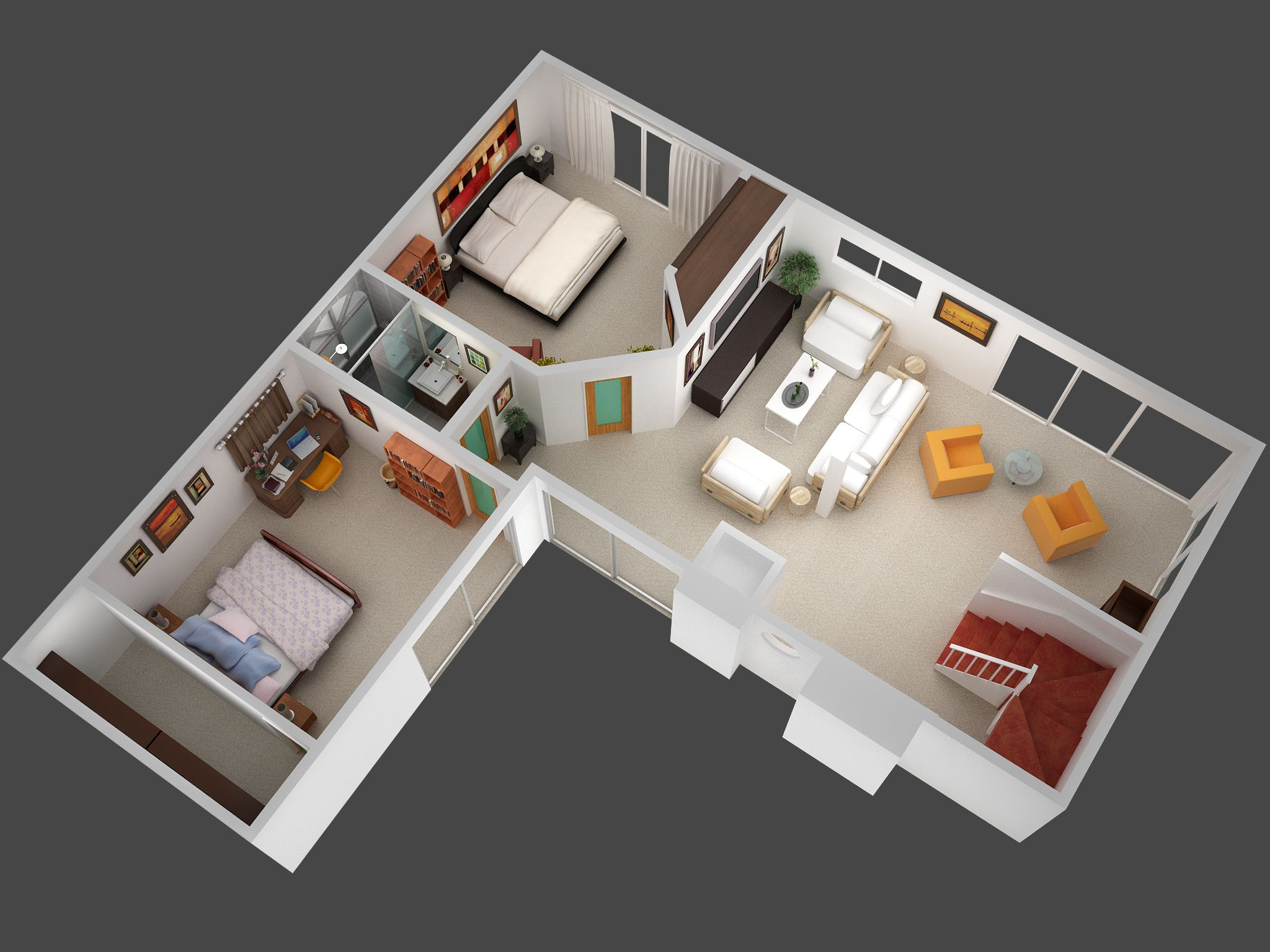 3d mansion floor plans 3d plan view render of unit 5 jpg for Home plans 3d designs