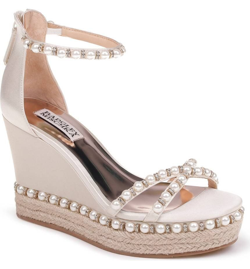 57d1c3472aa An espadrille-wrapped sole and lustrous pearly beads with sparkling ...