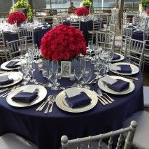Silver And Blue Table Setting | ... Table Linens, Chair Covers, Table