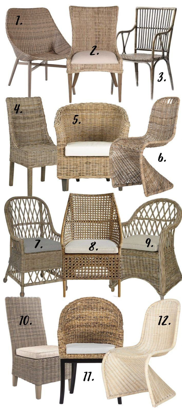Wicker Dining Chairs, Wicker Rattan Dining Room Chairs