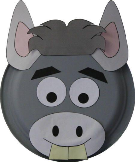 Paper Plate Donkey #Craft http://www.dltk-kids.com/animals/mplate ...
