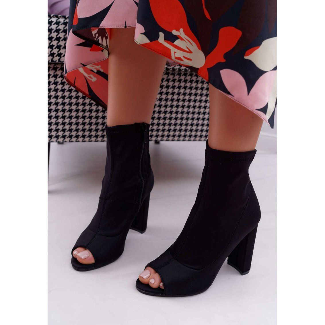 Ps1 Damskie Botki Na Slupku Lycra Odkryte Palce Czarne First Over Knee Boot Shoes Knee Boots