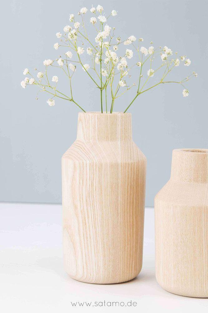 Vase KLAVA Aus Holz Im 2er Set Bringt Dir Den Frühling Nach Hause! Hol Dir  Die Moderne Deko Aus Holz Und Setze Deine Lieblingsblu2026