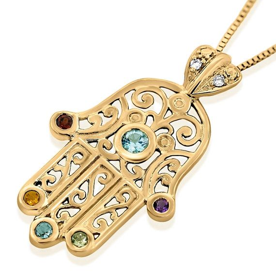 Hamsa Hand Necklace Gold Pendant From by ReallyAwesomeJewelry
