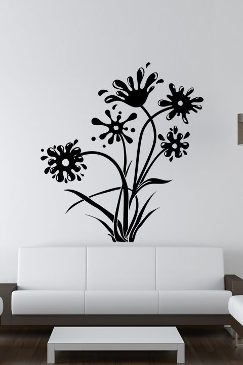 Wall decals ink and flowers sketch flower drawing swirls walltat com