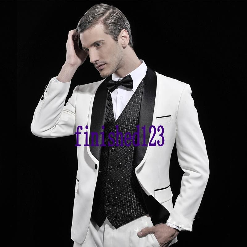 9754fad97 Fashion Style One Button White Groom Tuxedos Groomsmen Men's Wedding Prom  Suits Bridegroom (Jacket+Pants+Vest+Tie) K:554