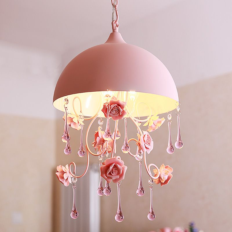 Semi-circular pendant lights pink countryside pastoral style ceramic ...