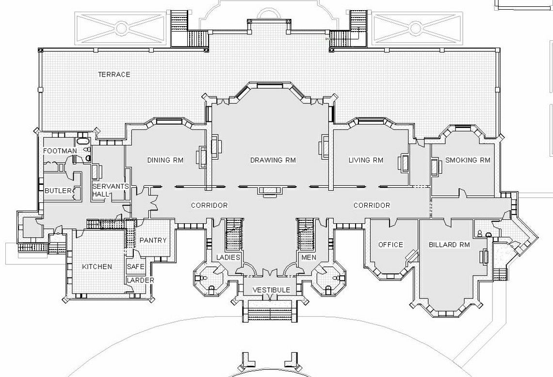 First Or Principal Floor Plan Of The Hatley Park Estate Also Known As Hatley Castle Located In Colwoo Castle Floor Plan Castle House Plans Mansion Floor Plan