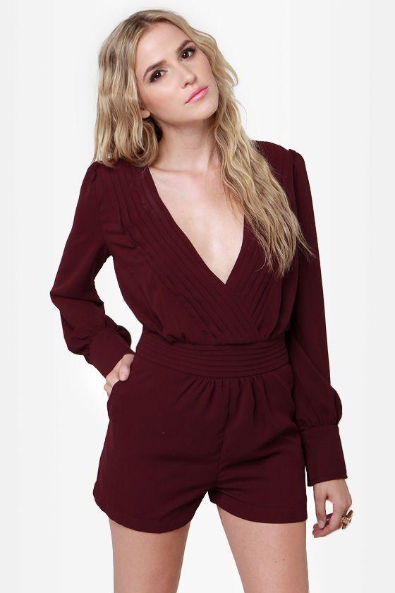 12bb307a16d Pretty Burgundy Romper - Sexy Romper - Long Sleeve Romper -  50.00